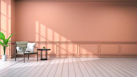 リビングルームのインテリア.ヴィンテージスタイル.木製アームチェアとブラックコーヒーテーブル、白い床とオレンジの壁3Dレンダリング 写真素材