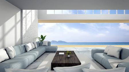 Interior de la sala blanca cerca de la playa con vista al cielo y al mar / render 3d Foto de archivo - 94371969
