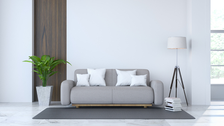 White room interior, gray sofa and white lamp on Marble floor and white wall 3d render