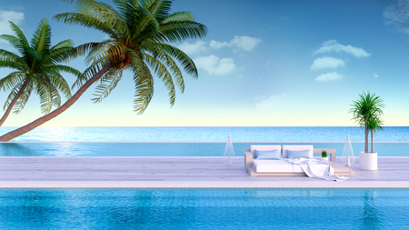 Relaxing summer, Sun loungers on Sunbathing deck and private swimming pool with  panoramic sea view at luxury villa3d rendering Stock Photo