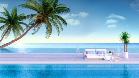 Verano relajante, tumbonas en la terraza para tomar el sol y piscina privada con vista panorámica al mar en villa de lujo / renderizado 3d Foto de archivo - 94371970