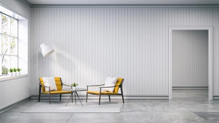 Estilo escandinavo, diseño de interiores, sillón amarillo claro con lámpara en la pared blanca y pisos de concreto, render 3d Foto de archivo - 94609972