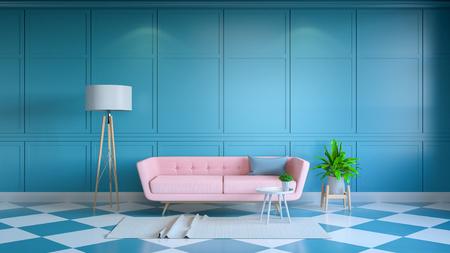 Retro moderne binnenlandse woonkamer, en de zomerstijl, Gele zitkamerstoel met witte lamp op witte en blauwe muur .3d geeft terug