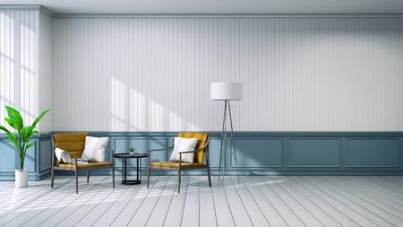 リビングルームのインテリア.ヴィンテージスタイル.木製椅子と白い壁3Dレンダリング 写真素材