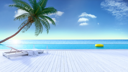 Relaxing summer, Sunbathing deck and private swimming pool with near beach and panoramic sea view and sky at luxury vila 3d rendering