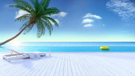 Verano relajante, terraza para tomar el sol y piscina privada con cerca de la playa y vistas panorámicas al mar y el cielo en vila / 3d de lujo Foto de archivo - 94301410