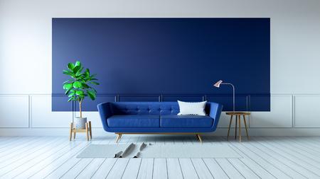 ヴィンテージブルーの部屋のインテリア、白い床の青いソファ.3dレンダリング