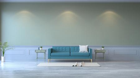 ミニマリストルームインテリア、木製フローリングと緑の壁3Dレンダリングに青いソファ 写真素材
