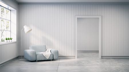 スカンジナビアスタイル、インテリアデザイン、白い壁とコンクリートフローリングにランプ付きライトグレーのソファ、3Dレンダー