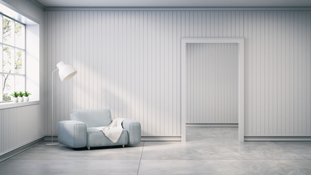 scandinavian style , interior design,light gray sofa with lamp on white wall and concrete flooring , 3d render