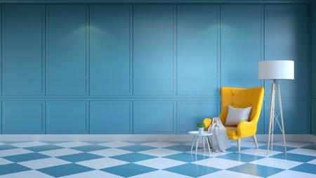 レトロなモダンなインテリアリビングルーム、夏スタイル、白と青の壁に白いランプと黄色のラウンジチェア.3Dレンダリング