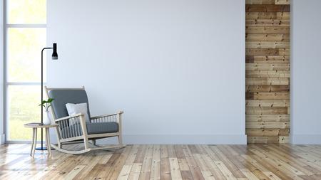 ホワイトルームインテリア、木製フロートのラウンジチェア、白い壁3Dレンダー