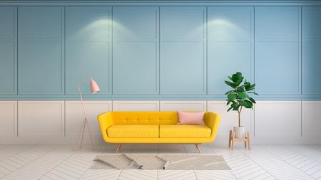 レトロと夏のインテリアリビングルームスタイル、白と青の壁にピンクのランプと黄色のソファ.3drender