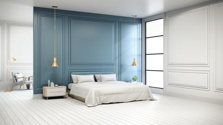 ベッドルームのモダンなシックなインテリア、白い床と青い壁に金のランプ付きの白いベッド、3Dレンダリング