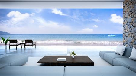 nowoczesne wnętrze pokoju w pobliżu plaży z widokiem na niebo i morze / renderowanie 3d Zdjęcie Seryjne
