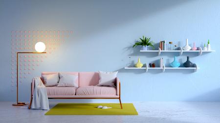 Sala azul vintage y sofá rosa .3d render Foto de archivo - 94301412
