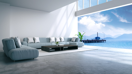 modern room interior near beach with sky and sea view /3d render