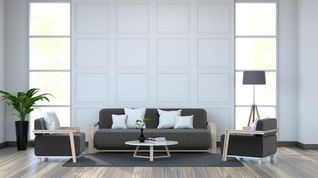 O interior do quarto branco, o sofá preto no assoalho branco e a parede branca 3d rendem Foto de archivo - 94419722