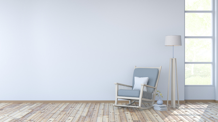 White room interior, lounge chair on wood floor and white wall 3d render Banco de Imagens