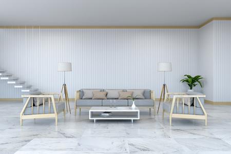 ミニマリストルームのインテリアデザイン、大理石の床に木製のアームチェアとソファ、白い部屋3Dレンダー