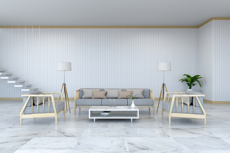 Minimalist room interior design, wood  armchair and sofa on marble  floor and white room 3d render