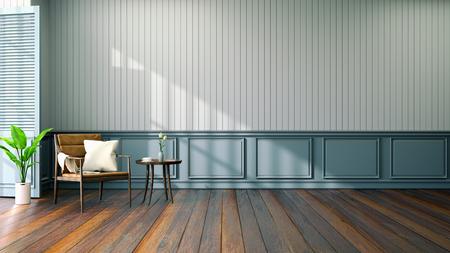 Diseño de interiores de sala vintage, sillón de cuero en piso de madera y pared azul / render 3d Foto de archivo - 94301413