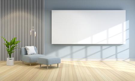 モダンな部屋のインテリアデザイン、灰色の壁、インテリアデザイン、3Dレンダーと青いソファ