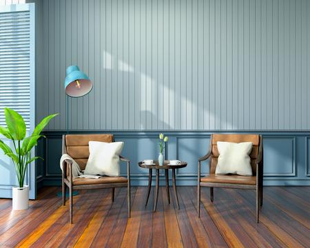 Diseño de interiores de sala vintage, sillones de cuero en piso de madera y pared azul render 3d Foto de archivo - 94432825