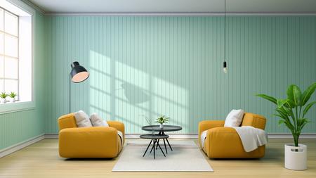 イエローソファとブラックコーヒーテーブル、ランプ、緑の壁3Dレンダリング付きのリビングルームのインテリア