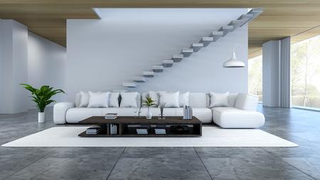 O interior branco da sala, o sofá branco e a tabela de madeira na parede branca branca do assoalho concreto / 3d rendem Foto de archivo - 94263565