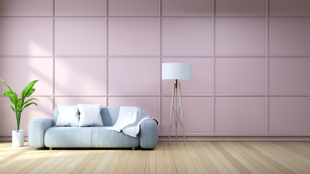ピンクの壁の背景3Dレンダリングに、水色のアームチェアと白いランプが付いているリビングルームのインテリア