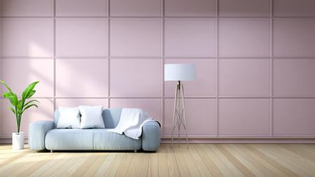 Interior de la sala de estar con sillón azul claro y lámpara blanca, en fondo de pared rosa / representación 3d Foto de archivo - 94301414