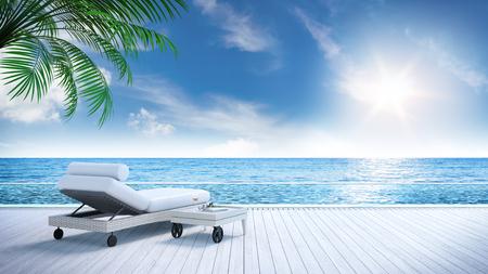 リラックスした夏、日光浴デッキ、ビーチ近くの専用スイミングプール、豪華な家3Dレンダリングのパノラマの海の景色を眺めながらリラックス