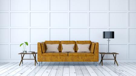 ミニマリストルームインテリアデザイン、白い壁付きの古い革張りのソファ、3Dレンダー 写真素材