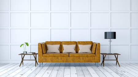 minimalist  room interior design ,Old  leather  sofa with white wall ,3d render