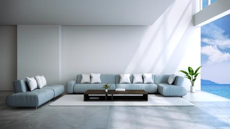 modern room interior  near beach with  sky and sea view /3d render Standard-Bild