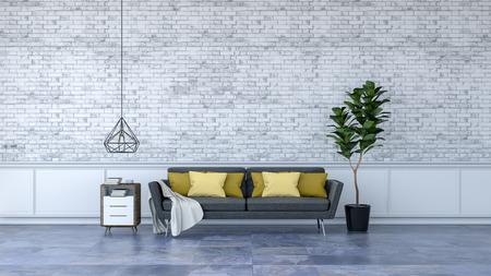 Interior de loft moderno, muebles negros en suelos de mármol y pared de ladrillo blanco / render 3d Foto de archivo - 94232112