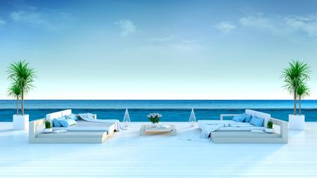 夏、ビーチラウンジ、日光浴デッキのサンラウンジャー、豪華なヴィラ3Dレンダリングで海のパノラマの景色を望む専用スイミングプール