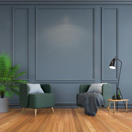 ヴィンテージインテリアルーム、コンテンポラリー家具、豪華な内装、木製フローリングのグリーンチェアブラックランプ、ダークグレーフレーム