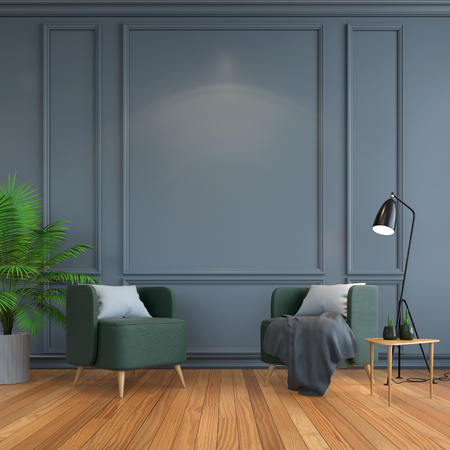 vintage  interior room , Contemporary furniture,luxury decor,green chair  black lamp on wood flooring and dark gray frame wall 3d render