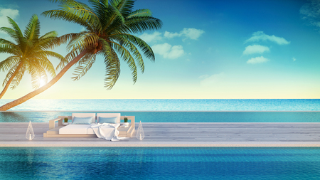 ビーチラウンジ、日光浴デッキのサンラウンジャー、豪華なヴィラ3Dレンダリングで海のパノラマの景色を望む専用スイミングプール 写真素材