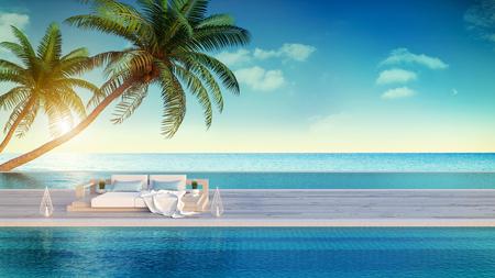 Beach lounge, espreguiçadeiras no deck para banhos de sol e piscina privada com vista panorâmica sobre o mar na villa de luxo / renderização em 3D Foto de archivo - 94496471