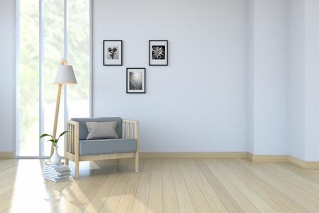 白い部屋の内部、木製の床および白い壁の腕の椅子3Dレンダリング 写真素材