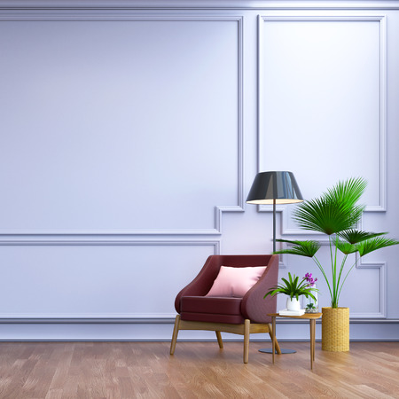 vintage  interior room ,, Contemporary furniture,luxury decor, berry leather sofa  and black lamp on wood flooring and blur light  frame wall 3d render Banco de Imagens