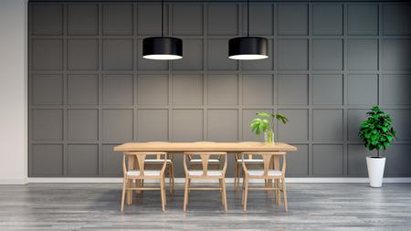 Interior moderno e Loft de sala de jantar, cadeira de madeira com mesa de madeira na parede escura e piso cinza de madeira, renderização em 3d Foto de archivo - 94252198
