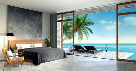 Modern Loft  interior of Bedroom ,Summer , sun loungers on Sunbathing deck and private swimming pool with  panoramic sea view at villa3d rendering