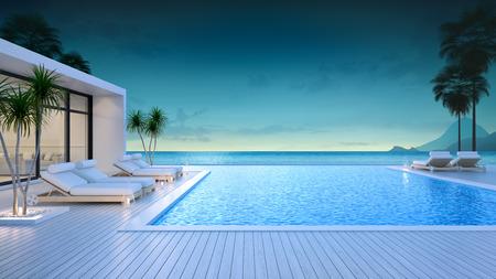 専用スイミングプール、夕方のビーチラウンジ、夏の楽園、息をのむような海と空3Dレンダリングのラウンジを備えた外観のビーチハウスでの豪華