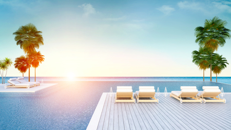 朝のビーチラウンジ、日光浴デッキのサンラウンジャー、専用スイミングプール、豪華なヴィラ3Dレンダリングのパノラマの海の景色