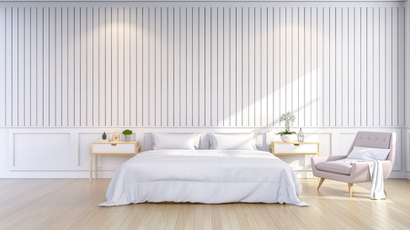 Estilo minimalista y escandinavo, acogedor dormitorio interior, sala blanca, render 3d Foto de archivo - 94312349