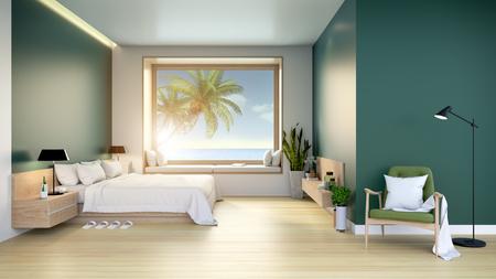 Interior moderno y minimalista de la habitación, cama de madera con sillón verde en la pared de color verde oscuro y piso de madera con vista al mar, render 3d Foto de archivo - 96638847